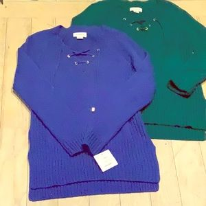 Two Liz Claiborne  laced up front sweaters